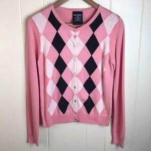3/$27 Polo Pink Black Argyle Cardigan Sweater